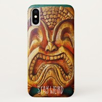"""Stay Weird"" Quote, Fun Retro Wood Tiki Face Photo iPhone X Case"