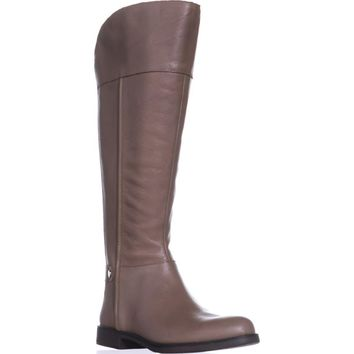 Franco Sarto Christine Wide Calf Riding Boots, Taupe Leather, 8.5 US / 38.5 EU
