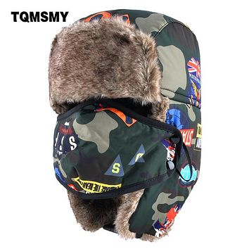 TQMSMY Camouflage bomber Hats boys Masks cap childrens aviator winter hat keep warm ear flaps bone girls Faux Fur caps for kids
