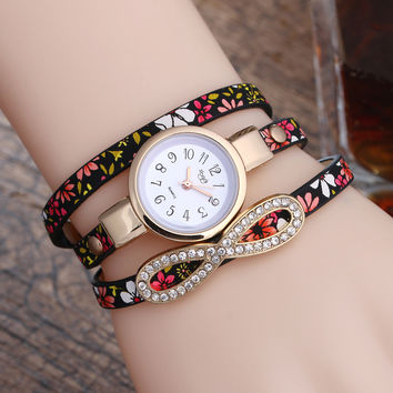 Women's Casual Multilayer Wristwatch Leather Bracelet Wrist Watch