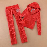 Juicy Couture Studded Jc Logo Crown Velour Tracksuit 8605 2pcs Women Suits Red
