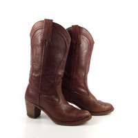 Dexter Cowboy Boots Vintage 1970s Stacked Heel Riding Dex Burgundy Brown Women's size 7 1/2 N
