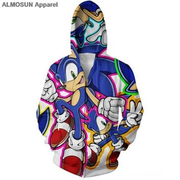 ALMOSUN Sonic 3D All Over Printed Zippper Men Pockets Hoodies Hipster Fashion Streetwear Jumper Men Women
