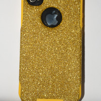 iPhone 4/4s glitter Otterbox Case,  Custom  Glitter Gold / Yellow Otterbox Color Combination, iPhone 4 or 4s cover case