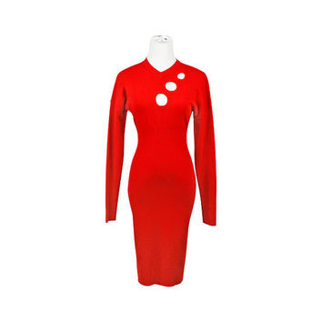 80s sweater dress / red dress / vintage 1980s sweater dress / long sleeve short dress / geometric / cutout / pencil dress / size XS S