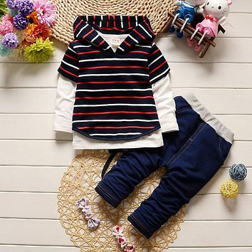 Baby boy clothes cotton stripe hoodies +shirt+jeans pants newborn boy clothes baby clothing set