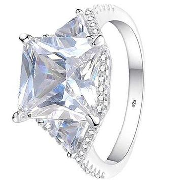 Women's 3.2ct Princess Cut White Cz 925 Sterling Silver Engagement Wedding Ring