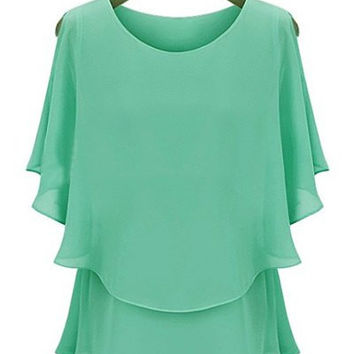 Solid Color Ruffled Faux Twinset Design Blouse