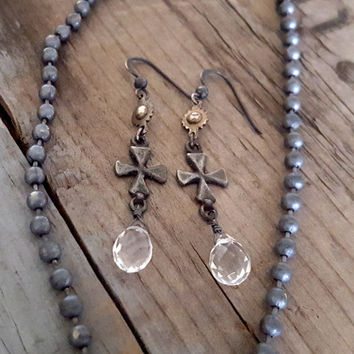 Crystal Quartz Earrings, Oxidized Silver Cross Boho Western Rustic Long Earrings, Clear Crystal Sterling Silver, Rustic Wedding Rustic Bride