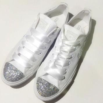 DCKL9 Monochrome All White Bride Rhinestone Converse Custom Shoes Confirmation Prom Bat Mitz