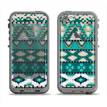 The Vector Teal & Green Aztec Pattern  Apple iPhone 5c LifeProof Fre Case Skin Set