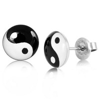 Women's 10mm Stainless Steel Enamel Studs Earrings Round Black White Yin Yang Vintage