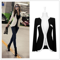 New Fashion Winter Women Slim Blazer Coat Casual Jackets Long Sleeve V-Neck Black White OL Outerwear = 1696617476