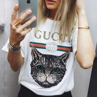 GPNV GUCCI Fashhion 2018 Catwalk Model T-Shirt Embroidery Sequin Cat Shirt Tunic Blouse Trending Top White G
