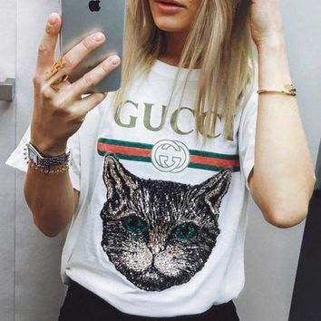 PEAPJ1A GUCCI Stylish Women Men Loose Embroidery Shiny Sequin Cat Short Sleeve T-Shirt Pullover Top I