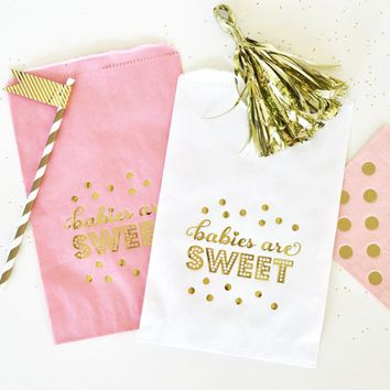 """""""Babies are Sweet"""" Gold Foil Candy Buffet Bags (set of 12)"""
