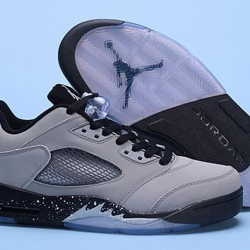 Air Jordan 5 Retro Low Gray/Black Men Leather Sneaker US7-13