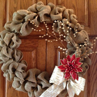 Christmas Wreath, Burlap Christmas Wreath, Front Door Wreath