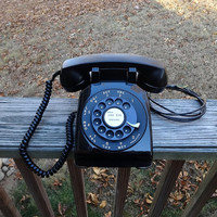 1959 Vintage Rotary Dial Telephone in Cool Black, Western Electric, Bell System, Non-Removable Cords, Vintage Dial Phone, Vintage Technology