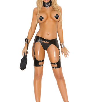Leather waist to thigh harness with O rings and adjustable buckle closures