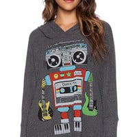 Lauren Moshi Wilma Robot Oversized Pullover With Hood in Charcoal