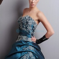 Captivating blue strapless taffeta evening dress : dressoutletstore.co.uk, Wedding Dresses Outlet
