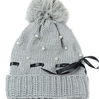 Gray Bowknot Faux Pearl Ball Top Knitted Beanie