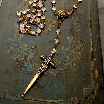 Raw Brass Lion Head Bronze Cross Sword Crystal Rosary Long Pendant Necklace