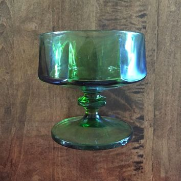 Set of 4 - Vintage Green Replacement Glasses Cups with Octagonal Shape