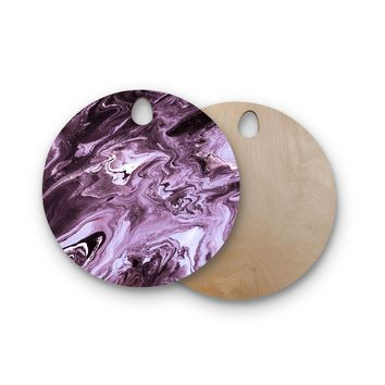 "Iris Lehnhardt ""Marble - Purple"" Purple Lavender Abstract Pattern Painting Mixed Media Round Wooden Cutting Board"