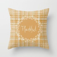 Autumn Weave Thankful Throw Pillow by Lisa Argyropoulos