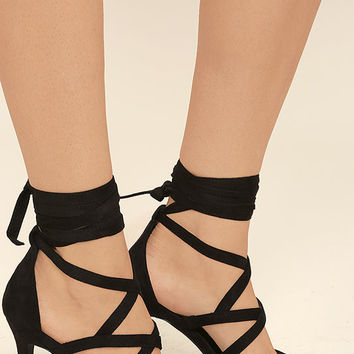 Swear In Black Suede Lace-Up Heels