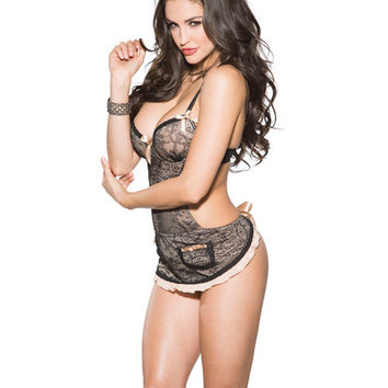 Sexy Lace Babydoll Set Side Cut Outs Maid Apron Shirley of Hollywood