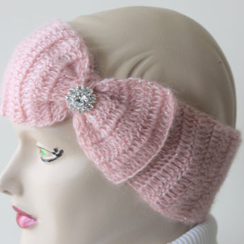 Crocheted Pink Headband With Big Bow and Crystal Button / Ear Warmer / Angora headband / Women Accessories/ Ready to Shipping / gift for Her