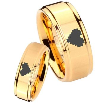His Her Glossy Step Edges Zelda Heart 14K Gold IP Tungsten Wedding Rings Set