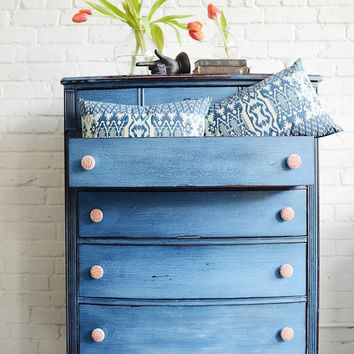 Tall, Hand Painted, Red And Blue Chest Of Drawers  Torelli