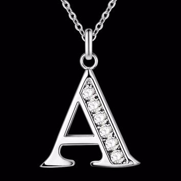 Blingy Letter A-S Silver Plated Necklace