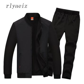 Rlyaeiz Plus Size L-8XL High Quality 2017 Sportswear Casual 2 Piece Set Mens Autumn Jacket + Pants Sporting Suits Men Tracksuits