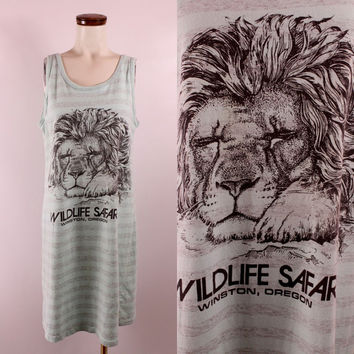 Vintage 90s - Pastel Mint Green & Grey Stripe - Lion - Wildlife Safari - Winston Oregon - Souvenir Novelty Tee T Shirt Tank Top Dress