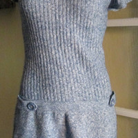 Mod Turtleneck Dress / Navy White Sweater Minidress Short Sleeves / Adorable .