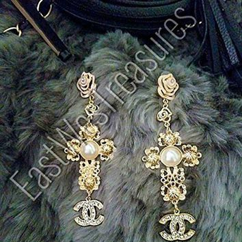 Ewt Royal Crown Anthropologie Baroque Zara Style Gold And Pearl Accented Large Cross Drop Dangle Statement Earrings/large Cross Dangle Earrings