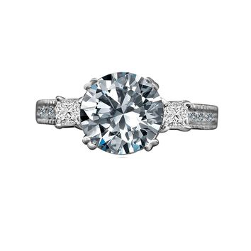 2 CT.(8mm) Intensely Radiant Round Center Diamond Veneer Cubic Zirconia with Three Stone Sterling Silver Ring Miligree Vintage Style Engagement/Wedding Ring. 635R13846