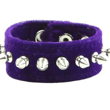 "Purple Velvet Wristband 1/2"" Spikes Bracelet Cuff 1-1/2"" Wide"