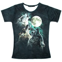 Three Wolves Howling At The Moon Aurora Sky Animal Print Graphic Tee T-Shirt for Women