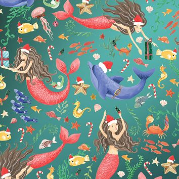Bulk Ream Roll Christmas Gift Wrap Wrapping Paper, Merry Mermaids