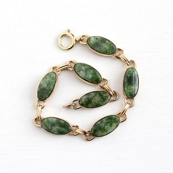 Vintage 12k Rosy Yellow Gold Filled Jade Gem Panel Bracelet - Retro 1950s Genuine Nephrite Jade Mossy Green Gemstone WRE Richards Co Jewelry