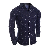 Long Sleeve Winter Stylish Floral Men Slim Casual Shirt [10831835267]
