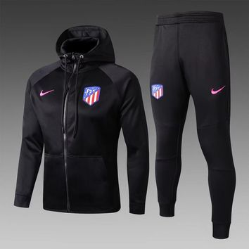 KUYOU Atletico Madrid 2017/18 Black Hoodie Men Jacket Tracksuit Slim Fit