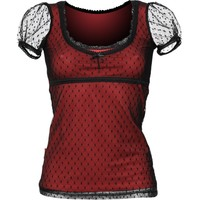 Gothic shop: red shirt black lace by Queen of Darkness