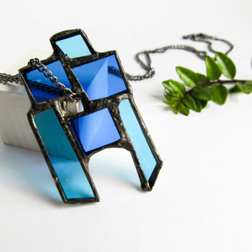 Stained glass BLUE STATEMENT PENDANT Geometric jewellery Minimalist modern necklace Glass jewelry Beautiful unique handmade gift for her Art